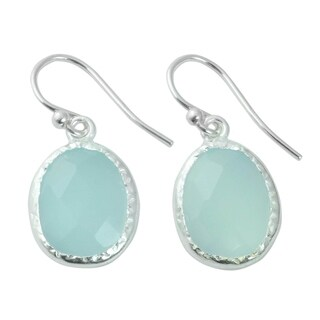 Handcrafted Sterling Silver 'Pale Aqua Dewdrops' Chalcedony Earrings (India)
