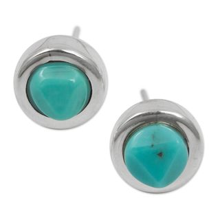 Handcrafted Sterling Silver 'Mayan Heritage' Turquoise Earrings (Mexico)