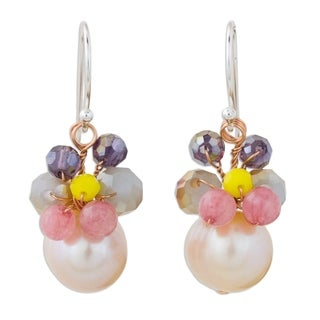Handcrafted Sterling Silver 'Butterfly Party in Pink' Cultured Pearl Quartz Earrings (10 mm) (Thailand)