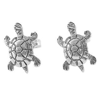 Handmade Sterling Silver 'Little Turtles' Earrings (Thailand)