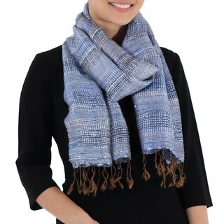 Handcrafted Silk 'Fresh Breeze in Blue' Scarf (Thailand)