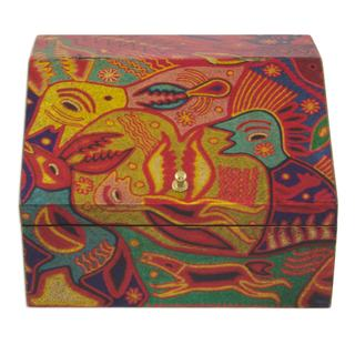 Handcrafted Decoupage 'Huichol Essence' Jewelry Box (Mexico)