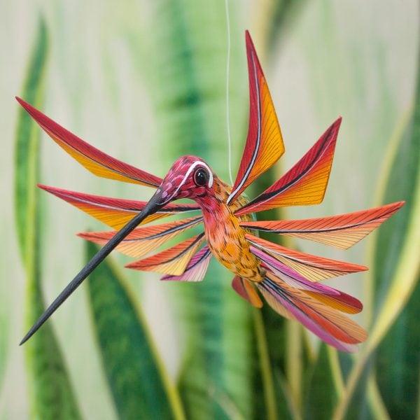 Handmade Copal Wood 'Colorful Hummingbird' Alebrije Sculpture (Mexico)