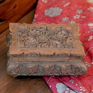 Handmade Walnut Wood 'Wildflowers' Jewelry Box (India)
