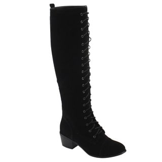Natural Breeze FE57 Women's Lace Up Cap Toe Knee High Mid High Heel Boots Size 11 in Black (As Is Item)