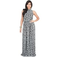 KOH KOH Long Sleeveless Casual Summer Print Halter Maxi Dress Gown