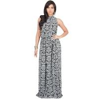 Koh Koh Women's Floral-print Long Sleeveless Summer Maxi Dress