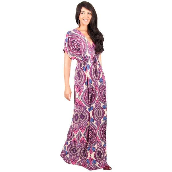 KOH KOH Long Casual Summer Kimono Sleeve Floral Print Maxi Dress Gown 864943434