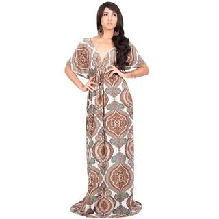 KOH KOH Womens V-Neck Short Bat Wing Sleeve Printed Summer Maxi Dress (Option: Brown and white - XL)