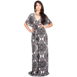 KOH KOH Womens V-Neck Short Bat Wing Sleeve Printed Summer Maxi Dress