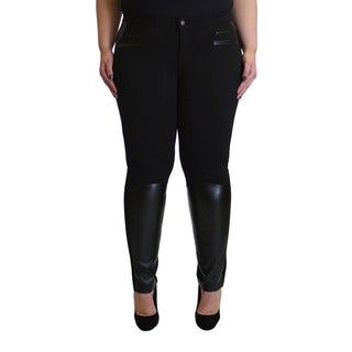 Krazy Love Women's Black Rayon and Spandex Plus-size Stretchy Leggings