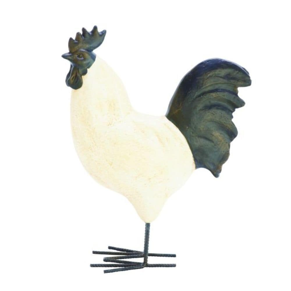 Benzara White and Black Polystone and Metal 14-inch Wide x 18-inch Rooster Sculpture