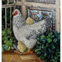 The Gray Barn Jartop Polystone 10-inch Tall Hen with Chicken Sculpture