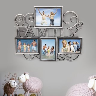 Adeco Plastic Silver 4-opening Photo Frame