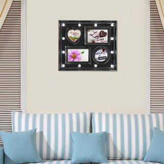 Adeco Black Plastic 4-opening LED Photo Frame