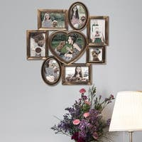 Adeco Tarnished Gold Plastic 8-opening Collage Photo Frame