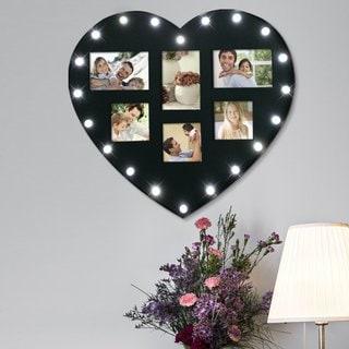 Adeco Black Plastic 6-opening LED-light Photo Frame