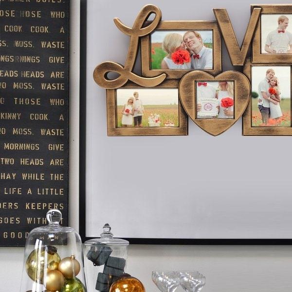 Adeco 'Love' Gold-tone Plastic 5-photo Frame