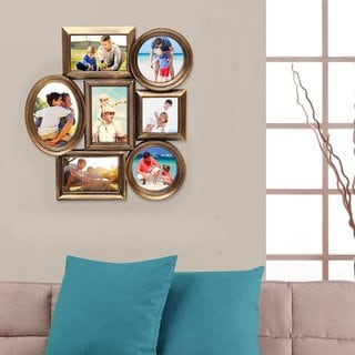 Adeco Gold-tone Plastic 7-photo Frame