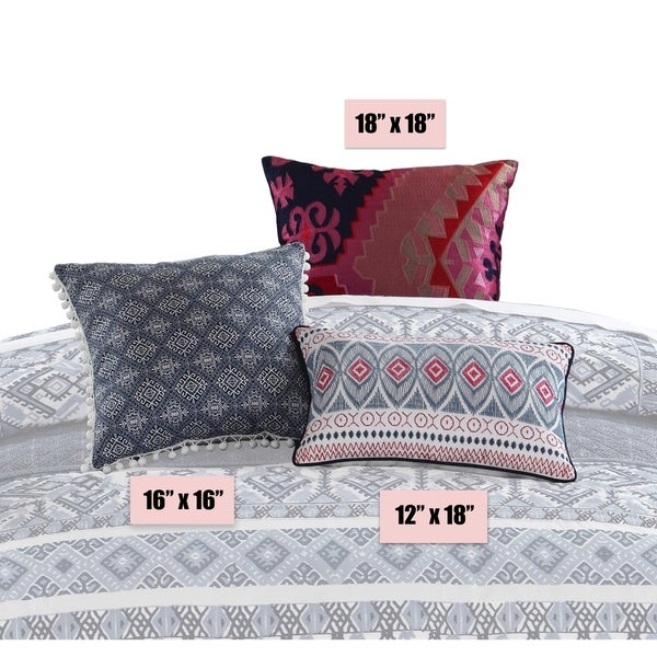 LUX-BED 1-Piece Pearce Garden Decorative Navy/Red/Pink Throw Pillow