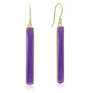20 TGW Amethyst Quartz Bar Earrings In 14 Karat Yellow Gold Over Sterling Silver, 1 3/4 Inch