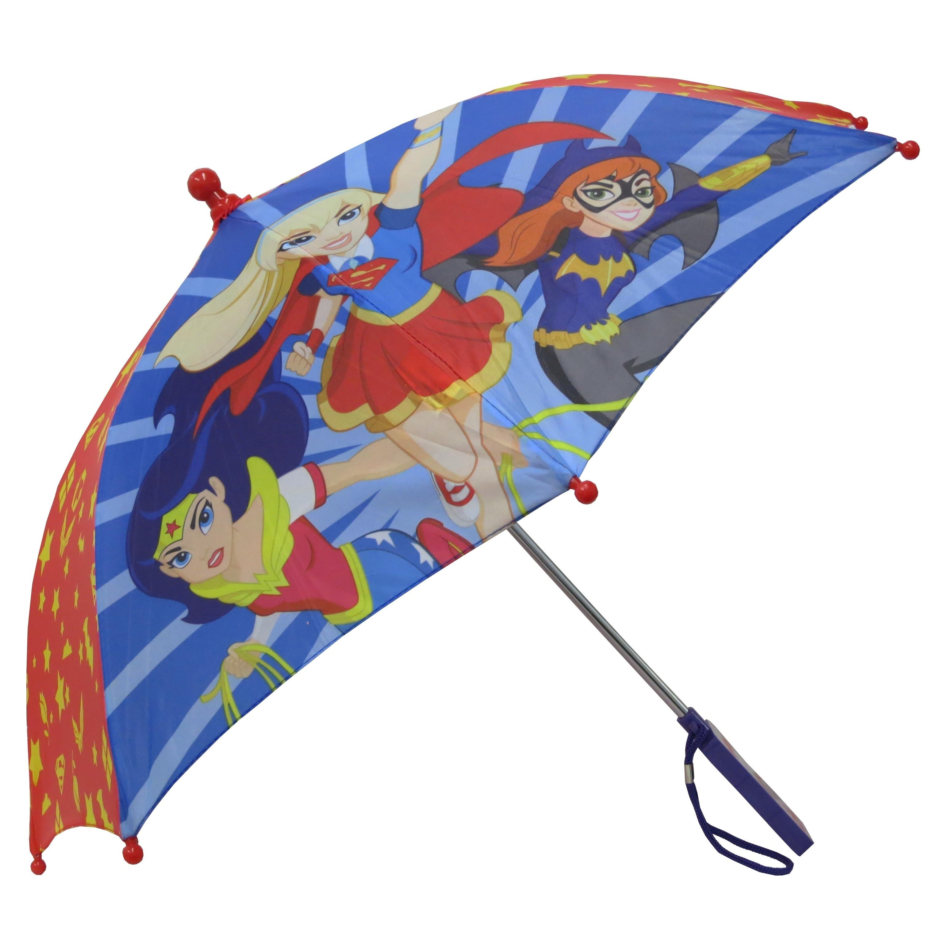 Dc Comics Superhero Girl's Red Umbrella (Red and Blue), S...