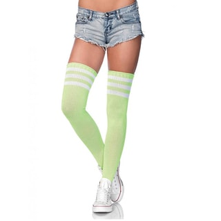 Women's Nylon Blend 3-striped Athletic Ribbed Thigh Highs (Option: Green)