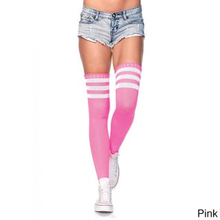 Leg Avenue Women's Nylon Blend 3-striped Athletic Ribbed Thigh Highs (Option: Pink)