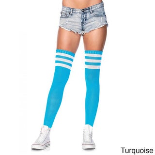 Women's Nylon Blend 3-striped Athletic Ribbed Thigh Highs