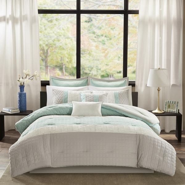Madison Park Regina Aqua 8 Piece Quilted Comforter Set