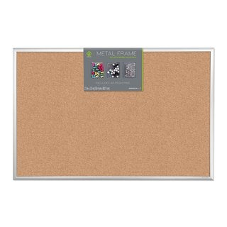 U Brands Silver Aluminum Frame 35 x 23-inch Cork Bulletin Board Value Starter Pack