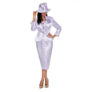 Giovanna Signature Women's Polyester Pleated 3-piece Skirt Suit with Flower Brooch