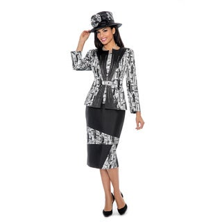Giovanna Collection Black and Silver Print Fabric Combo 3-piece Skirt Suit (Option: 16)