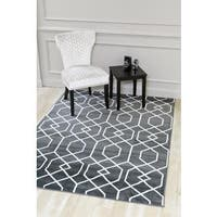 """Persian Rugs Charcoal/White Abstract Trellis Area Rug - 2' x 3'4"""""""