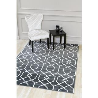 Persian Rugs Charcoal/White Abstract Trellis Area Rug (7'10 x 10'6)