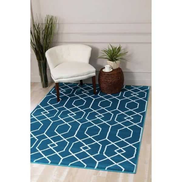 "Persian Rugs Turquoise/White Abstract Trellis Area Rug - 7'10"" x 10'6"""