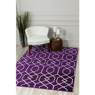 Persian Rugs Purple/White Abstract Trellis Area Rug (7'10 x 10'6)