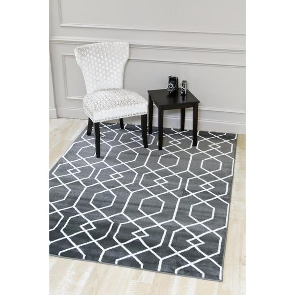 Persian Rugs Charcoal/White Abstract Trellis Area Rug - 9' x 12'7