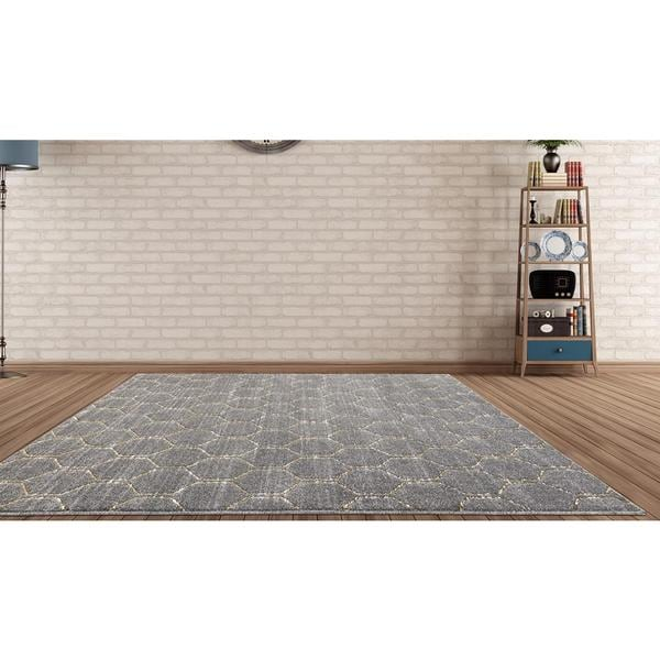 Shop Persian Rugs Trellis Charcoal Gray W Accents Of Gold