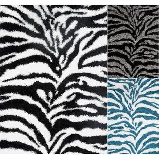 Persian Rugs Shaggy Zebra Pattern Area Rug (6'6 x 9'5)