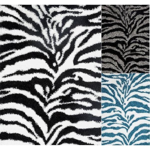 Persian Rugs Shaggy Zebra Pattern Area Rug (6'5 x 9'2) - 6'6 x 9'5