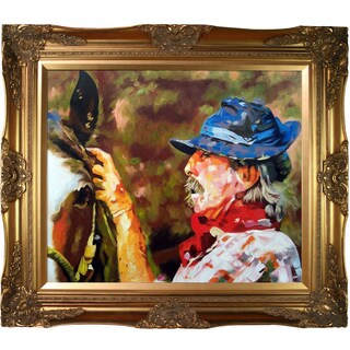 Celito Medeiros 'The Cowboy' Hand Painted Framed Oil Reproduction on Canvas