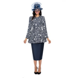 Giovanna Signature Women's Print and Solid Combo Skirt Suit