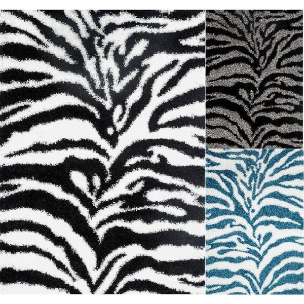 Persian Rugs Shaggy Zebra Pattern Accent Rug (2' x 3')