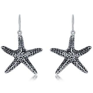 La Preciosa Sterling Silver Oxidized Starfish Earrings
