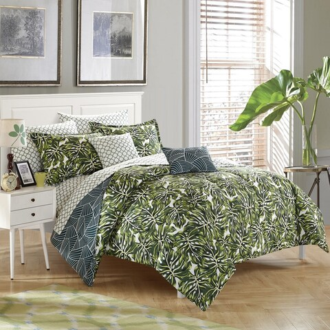 StyleNest Palm Leaf Bed in a Bag Bedding Set