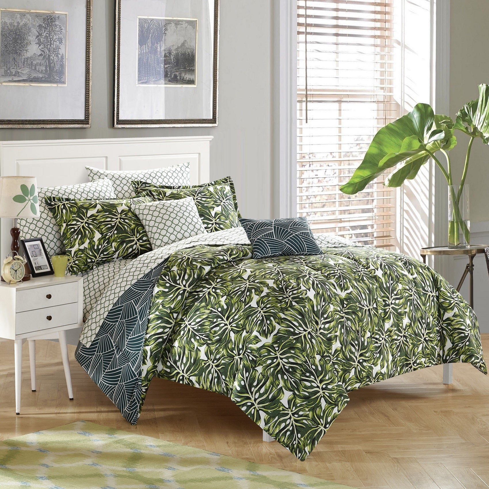 Hawaiian Tropical Leaves Beach House Queen Comforter 7 Piece Bed In A Bag