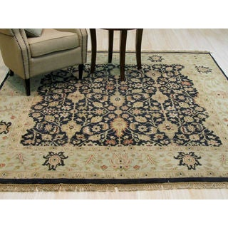 Hand-knotted Wool Black Traditional Oriental Ziegler Rug (7'7 x 7'11)