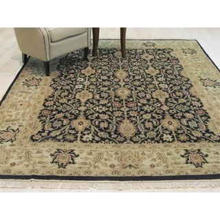 Hand-knotted Wool Black Traditional Oriental Ziegler Rug (7'5 x 9'5)