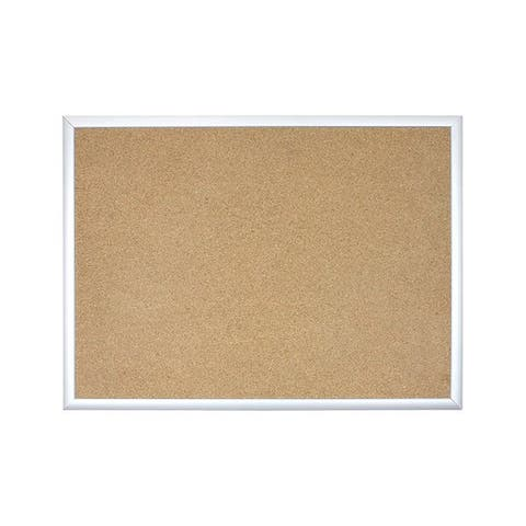 U Brands Basics Silver Aluminum Frame 47 x 35-inch Cork Bulletin Board